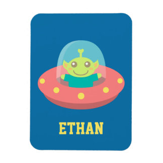 Friendly Alien in Spaceship, Outer Space Vinyl Magnets