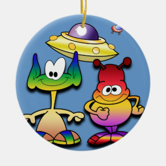 Friendly Aliens and a Flying Saucer Christmas Ornament
