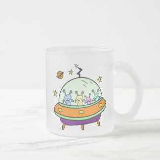 Friendly Aliens Frosted Glass Coffee Mug