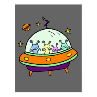 Friendly Aliens Postcard