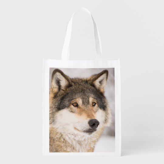 Friendly and smiling wolf reusable grocery bag