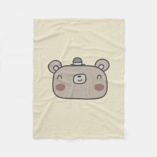Friendly Bear With Hat Fleece Blanket