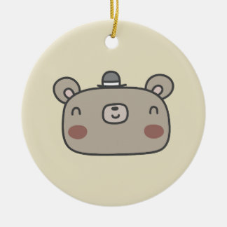Friendly Bear With Hat Round Ceramic Decoration