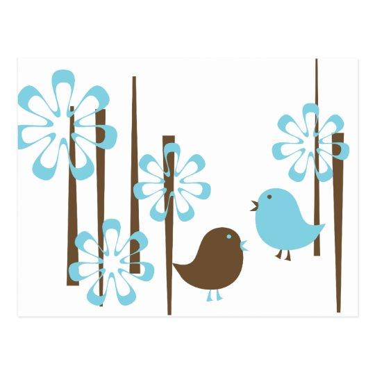 Friendly Birds in Blue Postcard