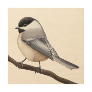 Friendly Black Capped Chickadee Wood Wall Art Wood Canvas