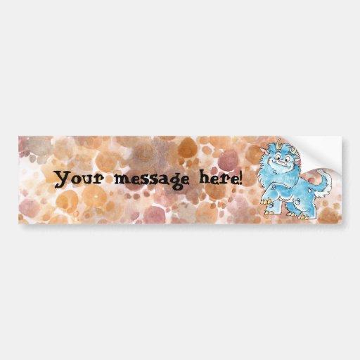 Friendly Blue Monster Bumper Sticker