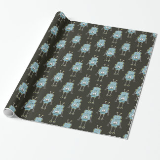 Friendly Blue Robot Pattern Gift Wrapping Paper