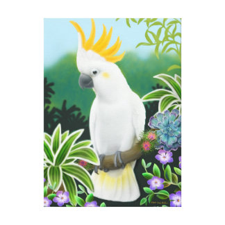 Friendly Citron Crested Cockatoo Wrapped Canvas Stretched Canvas Prints