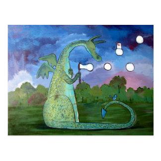 Friendly Dragon Kids Art Cute Whimsical Postcard