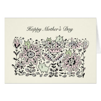 Friendly Flower Cats Mother s Day Card