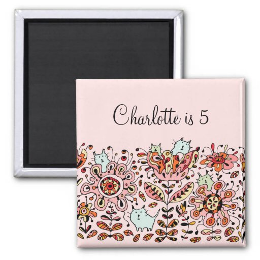 Friendly Flower Cats Pink Birthday Magnet
