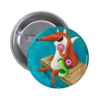 Friendly Fox and Chicken eating donuts 6 Cm Round Badge