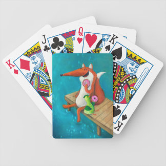 Friendly Fox and Chicken eating donuts Bicycle Playing Cards