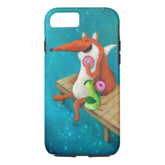 Friendly Fox and Chicken eating donuts iPhone 8/7 Case