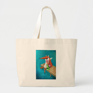 Friendly Fox and Chicken eating donuts Large Tote Bag