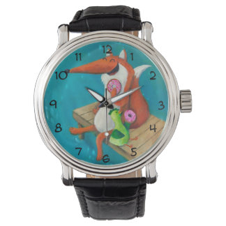 Friendly Fox and Chicken eating donuts Wristwatches