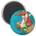 Friendly Fox and Chicken eating doughnuts 6 Cm Round Magnet