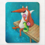 Friendly Fox and Chicken eating doughnuts Mouse Pad