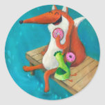 Friendly Fox and Chicken eating doughnuts Round Stickers