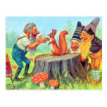Friendly Gnomes Observe a Squirrel Post Card
