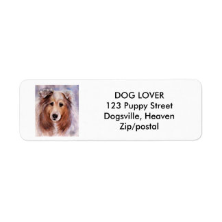 FRIENDLY GOLDEN COLLIE RETURN ADDRESS LABEL