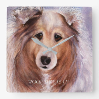 FRIENDLY GOLDEN COLLIE SQUARE WALL CLOCK