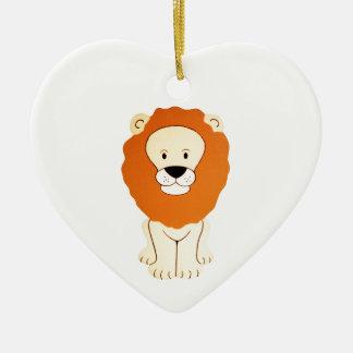 Friendly Golden Lion Ceramic Heart Decoration