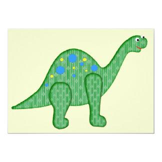 Friendly Green Dinosaur 13 Cm X 18 Cm Invitation Card