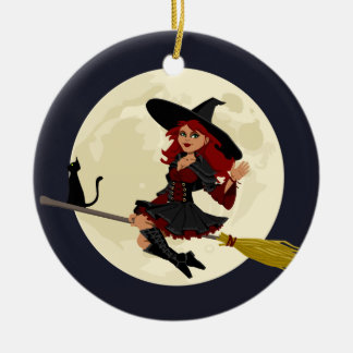 Friendly halloween witch kids christmas ornament