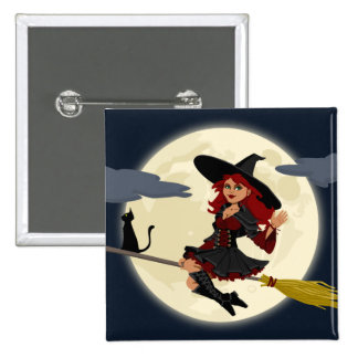 Friendly halloween witch on broom and black cat 15 cm square badge