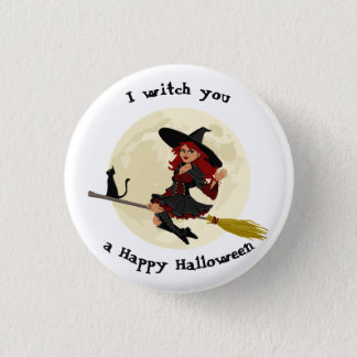 Friendly halloween witch on broom and black cat 3 cm round badge