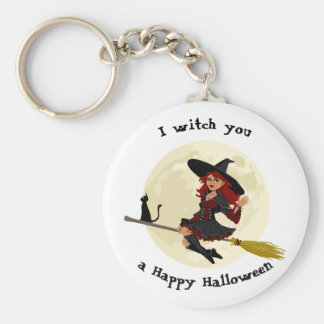 Friendly halloween witch on broom and black cat basic round button key ring