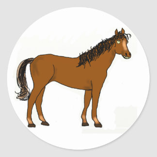 friendly horse round sticker