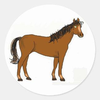 friendly horse round sticker
