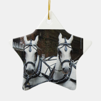 FRIENDLY HORSES CERAMIC STAR DECORATION