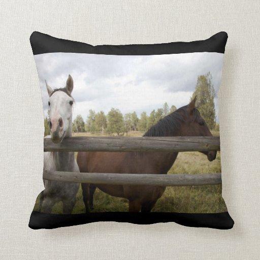 FRIENDLY HORSES THROW PILLOWS