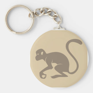 Friendly Monkey Icon Basic Round Button Key Ring