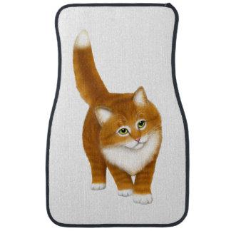 Friendly Orange Tabby Cat Auto Floor Mats