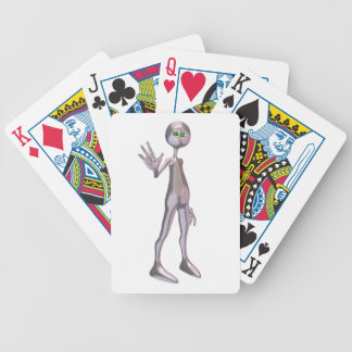 Friendly Pink Alien Bicycle Playing Cards
