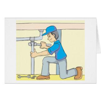 Friendly Plumber Cartoon Greeting Card