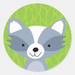Friendly Racoon - Woodland Friends Round Sticker