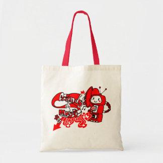 Friendly robot record shopper tote bag