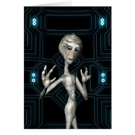Friendly Sci-Fi Alien Visitor Card