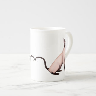 Friendly Siamese Cat Bone China Mug
