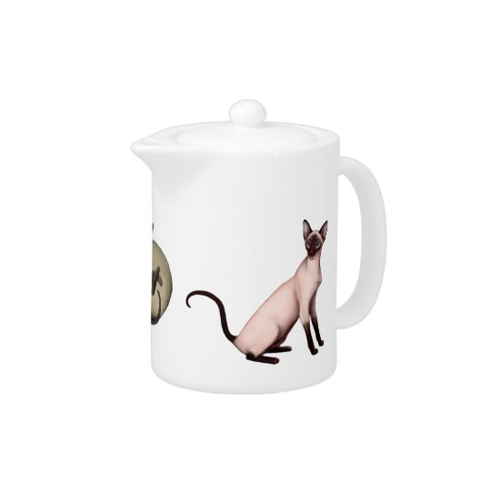 Friendly Siamese Cats Teapot