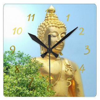 friendly sitting buddha square wall clock