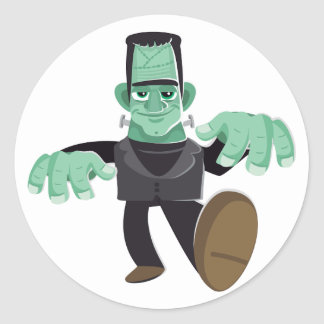 Friendly Smiling Frankenstein's Monster Walking Classic Round Sticker