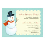 Friendly snowman north pole blue Christmas party Personalized Invitation