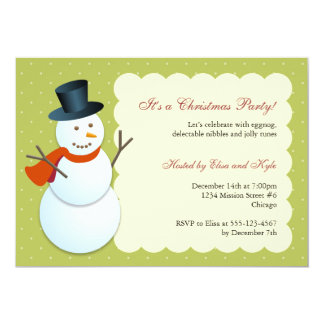 Friendly snowman north pole green Christmas party 13 Cm X 18 Cm Invitation Card