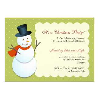 Friendly snowman north pole green Christmas party Invitation